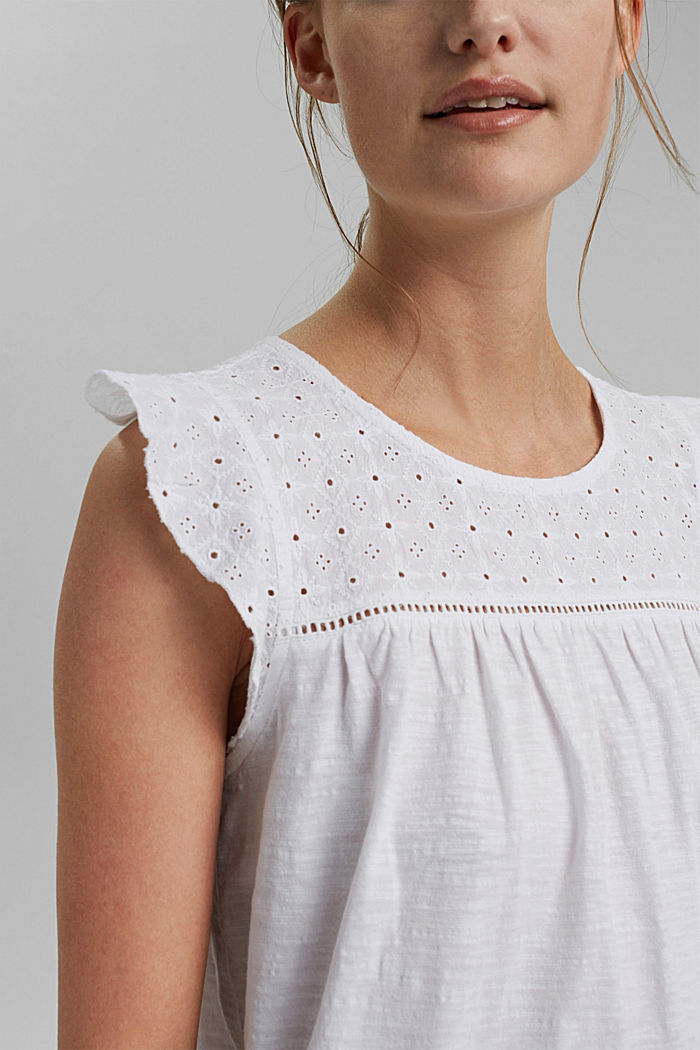 Top with broderie anglaise, 100% organic cotton, WHITE, detail image number 2