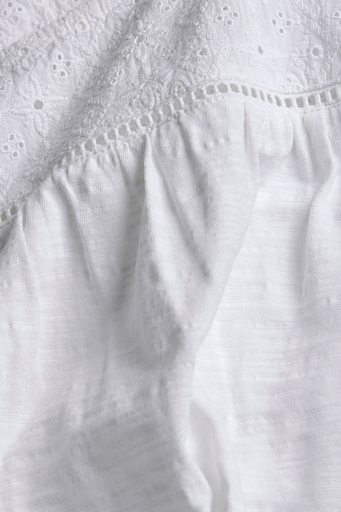 Top with broderie anglaise, 100% organic cotton, WHITE, detail image number 4