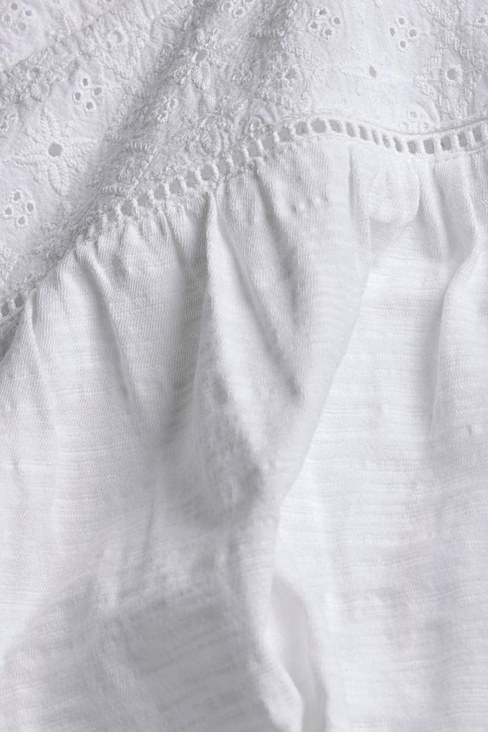 Shirt met broderie, 100% biologisch katoen, WHITE, detail image number 4