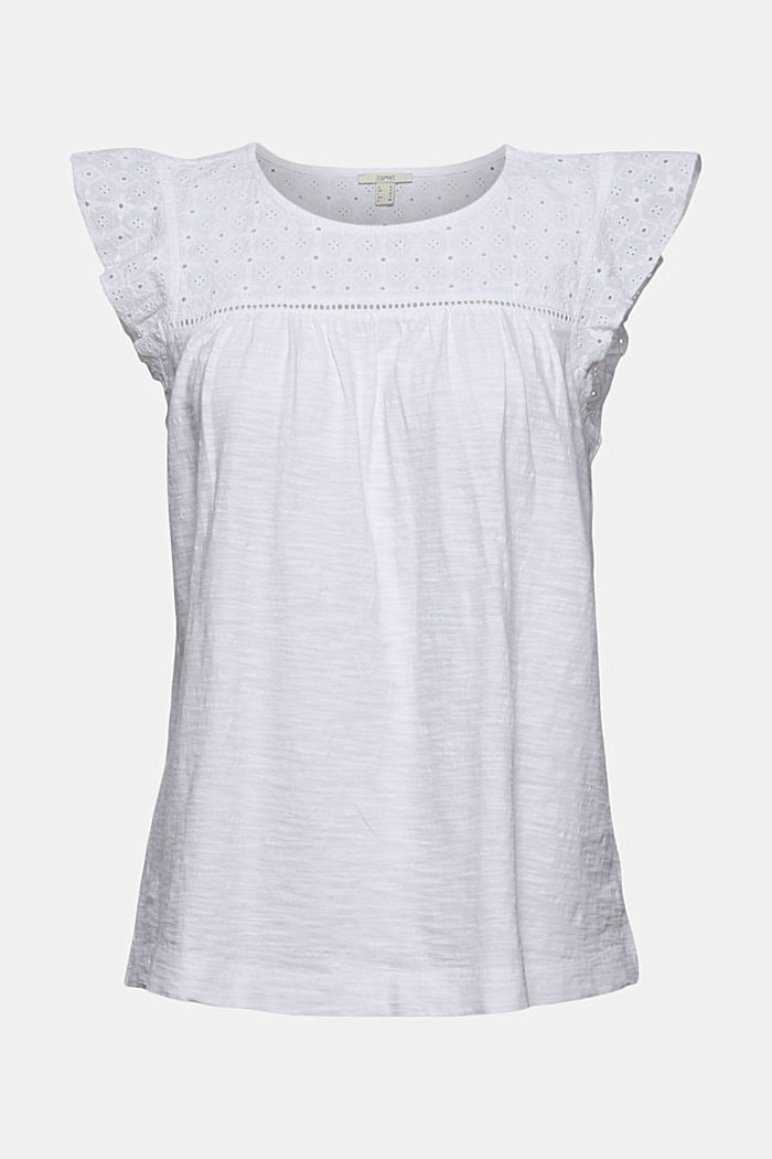 Top with broderie anglaise, 100% organic cotton, WHITE, detail image number 6