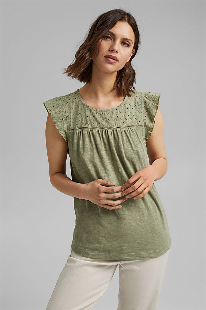 Camiseta con bordado calado, 100% algodón ecológico, LIGHT KHAKI, detail image number 0