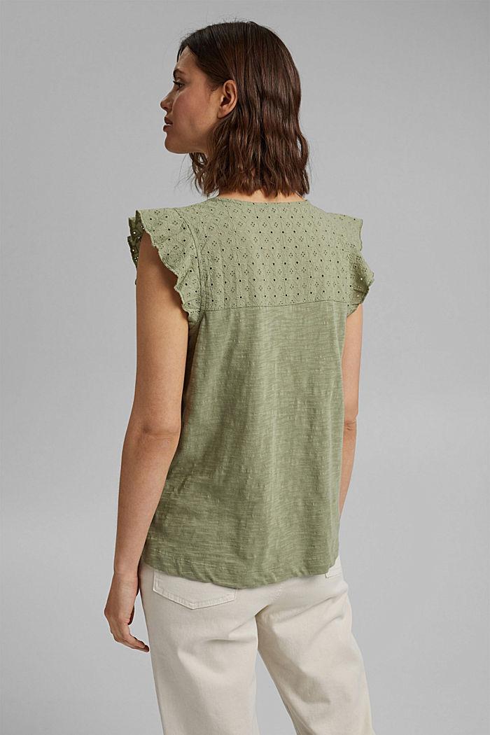 Camiseta con bordado calado, 100% algodón ecológico, LIGHT KHAKI, detail image number 3