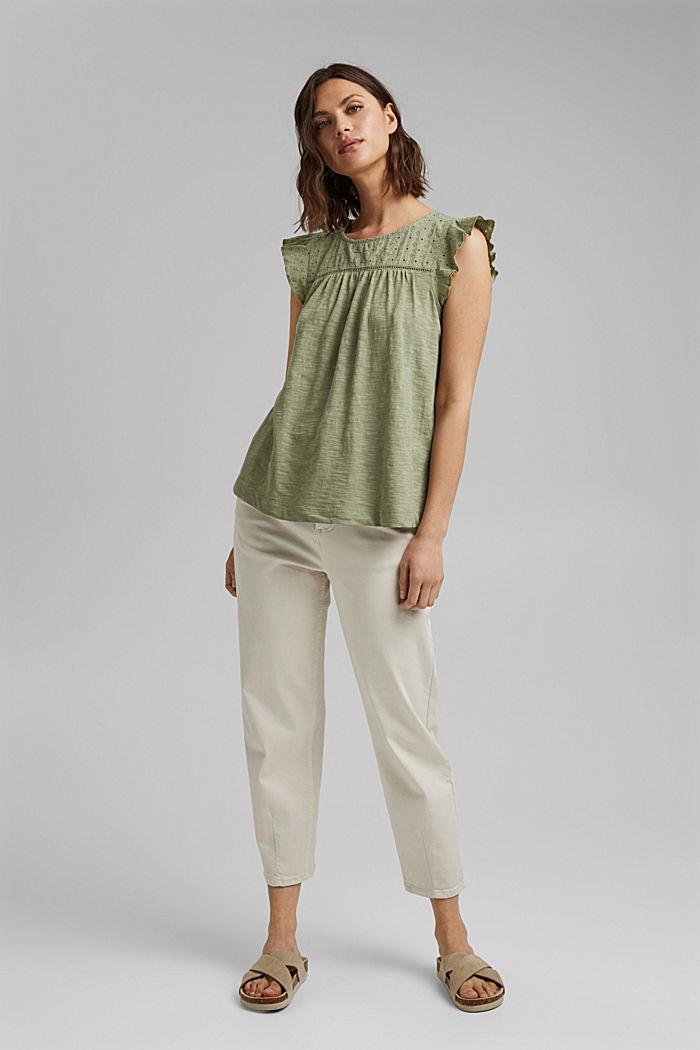 Camiseta con bordado calado, 100% algodón ecológico, LIGHT KHAKI, detail image number 1