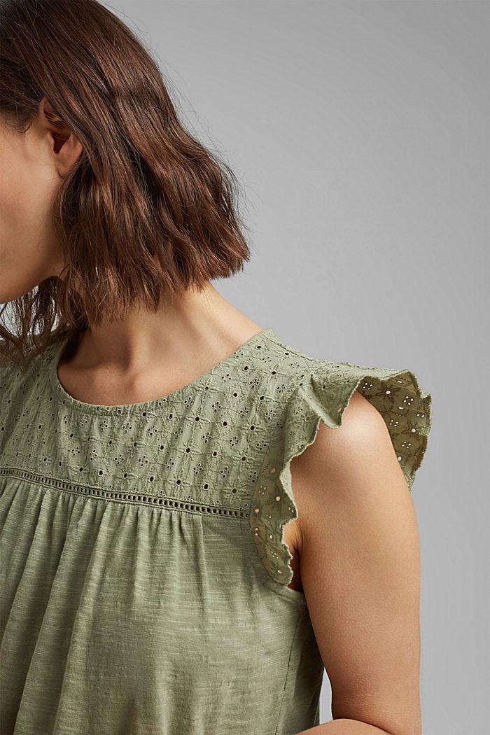 Camiseta con bordado calado, 100% algodón ecológico, LIGHT KHAKI, detail image number 2