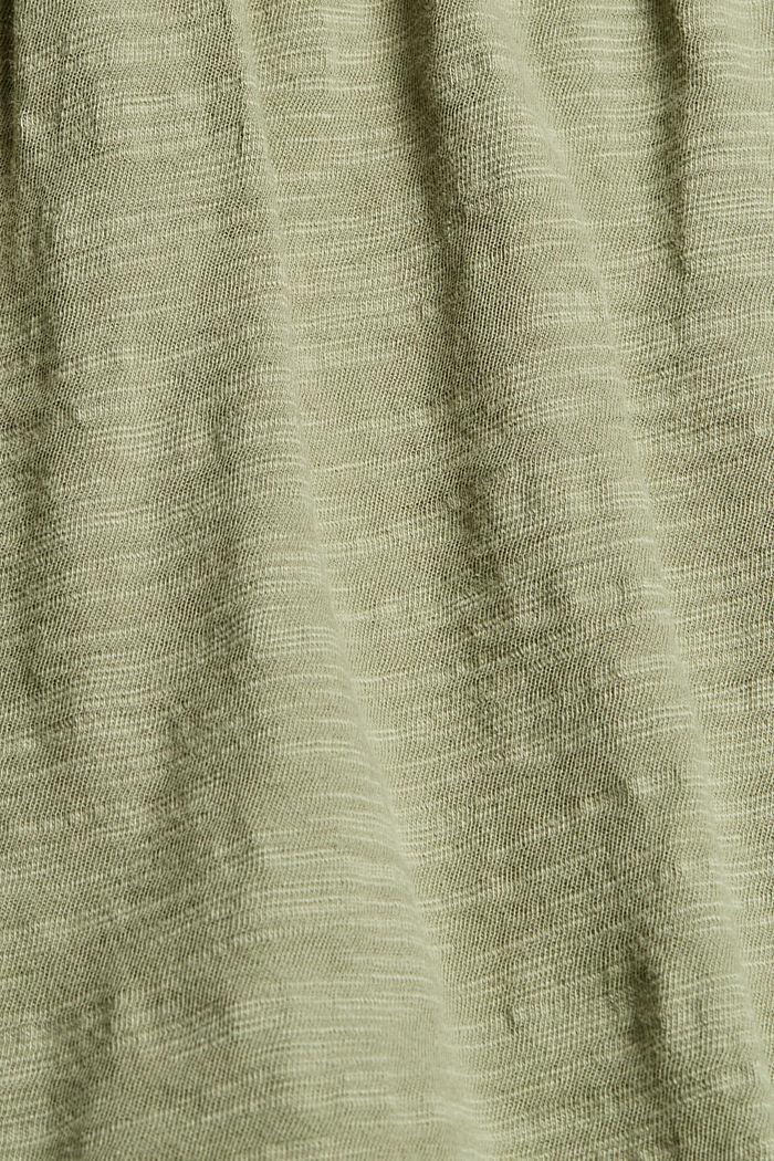 Camiseta con bordado calado, 100% algodón ecológico, LIGHT KHAKI, detail image number 4