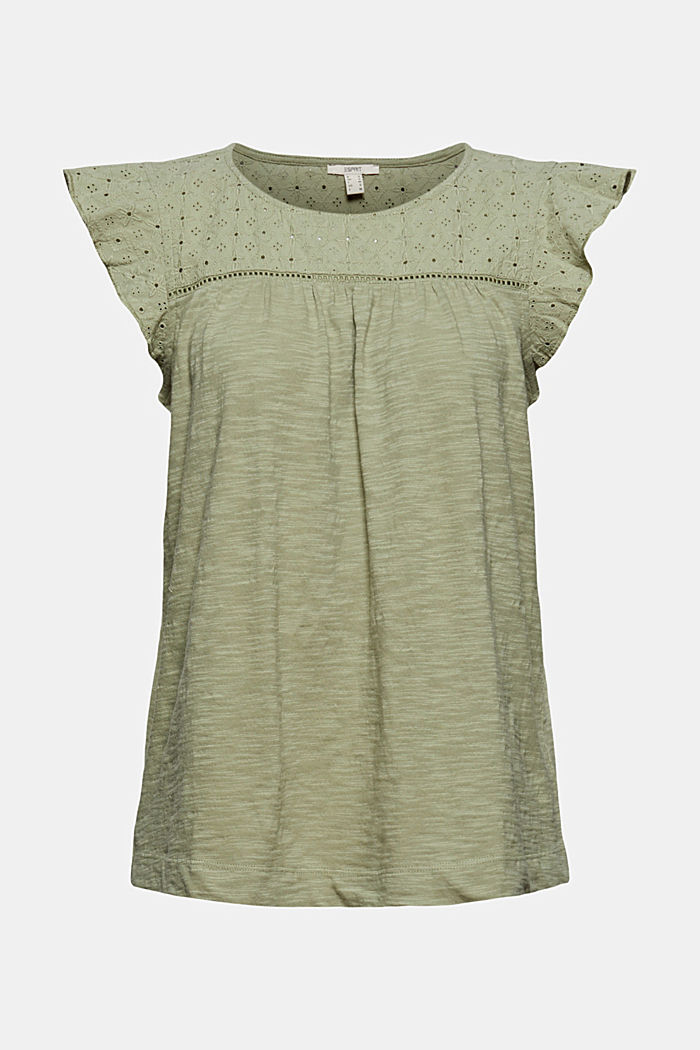 Camiseta con bordado calado, 100% algodón ecológico, LIGHT KHAKI, detail image number 6