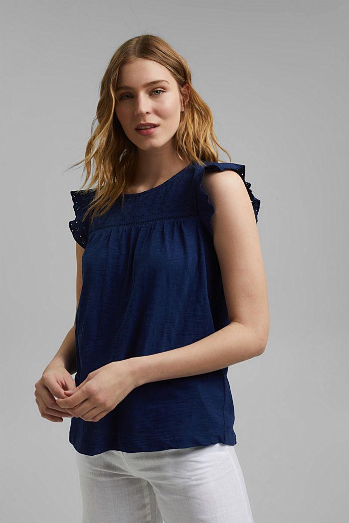 Shirt mit Lochstickerei, 100% Bio-Baumwolle, DARK BLUE, detail image number 0