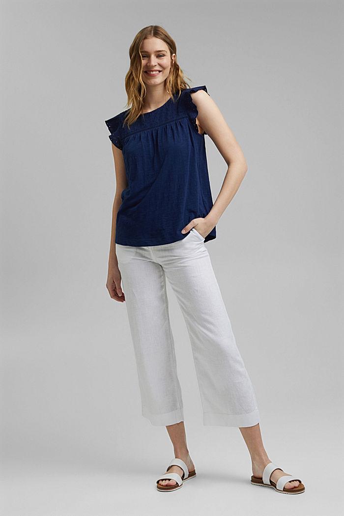 Shirt mit Lochstickerei, 100% Bio-Baumwolle, DARK BLUE, detail image number 1