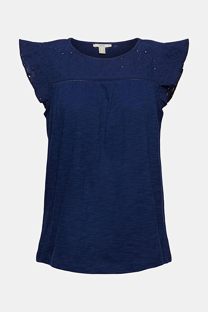 Shirt mit Lochstickerei, 100% Bio-Baumwolle, DARK BLUE, detail image number 6
