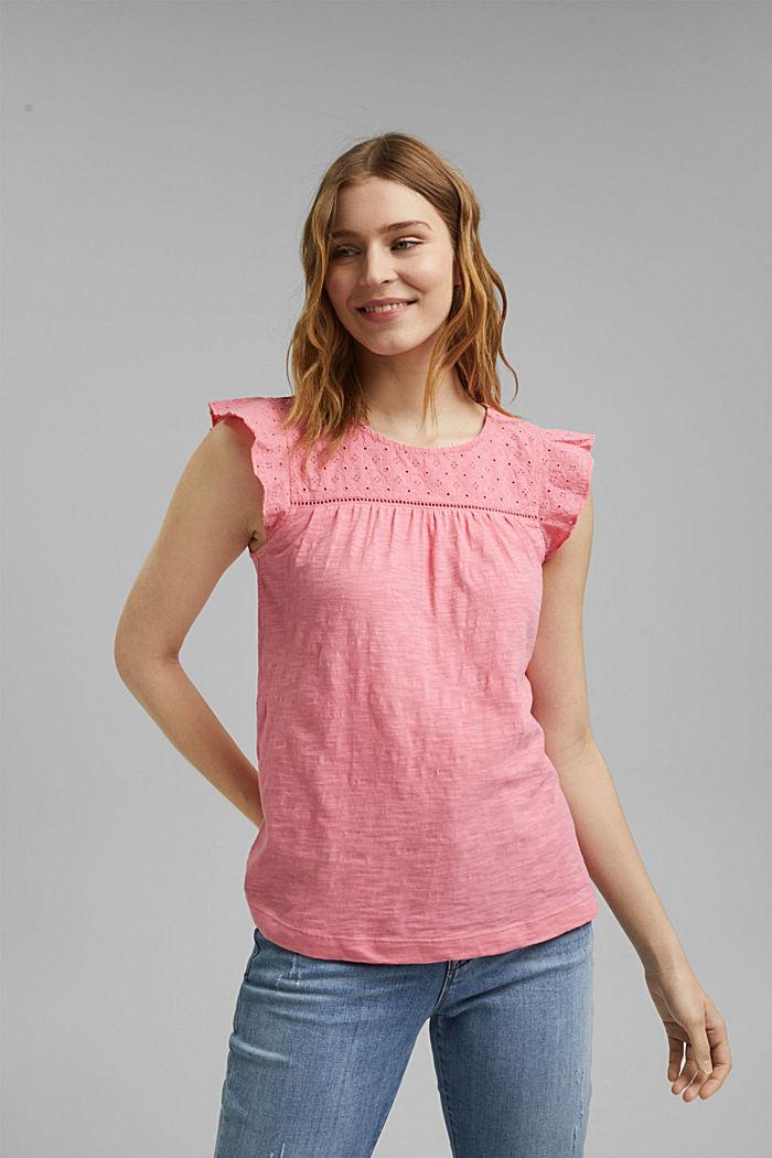 Shirt mit Lochstickerei, 100% Bio-Baumwolle, CORAL, detail image number 0