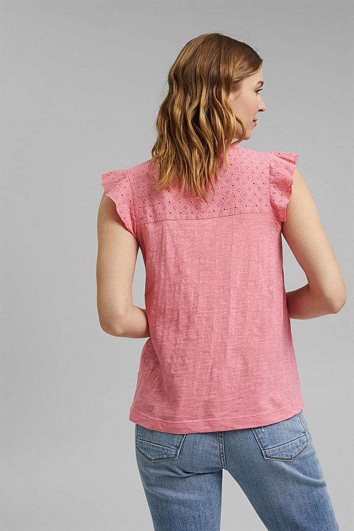 Shirt mit Lochstickerei, 100% Bio-Baumwolle, CORAL, detail image number 3