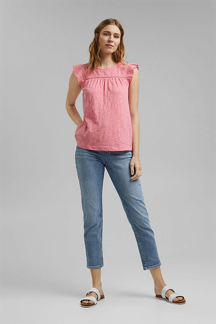 Shirt mit Lochstickerei, 100% Bio-Baumwolle, CORAL, detail image number 1