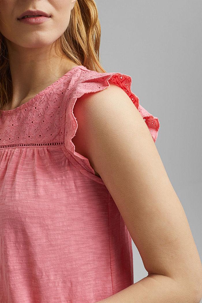 Shirt mit Lochstickerei, 100% Bio-Baumwolle, CORAL, detail image number 2