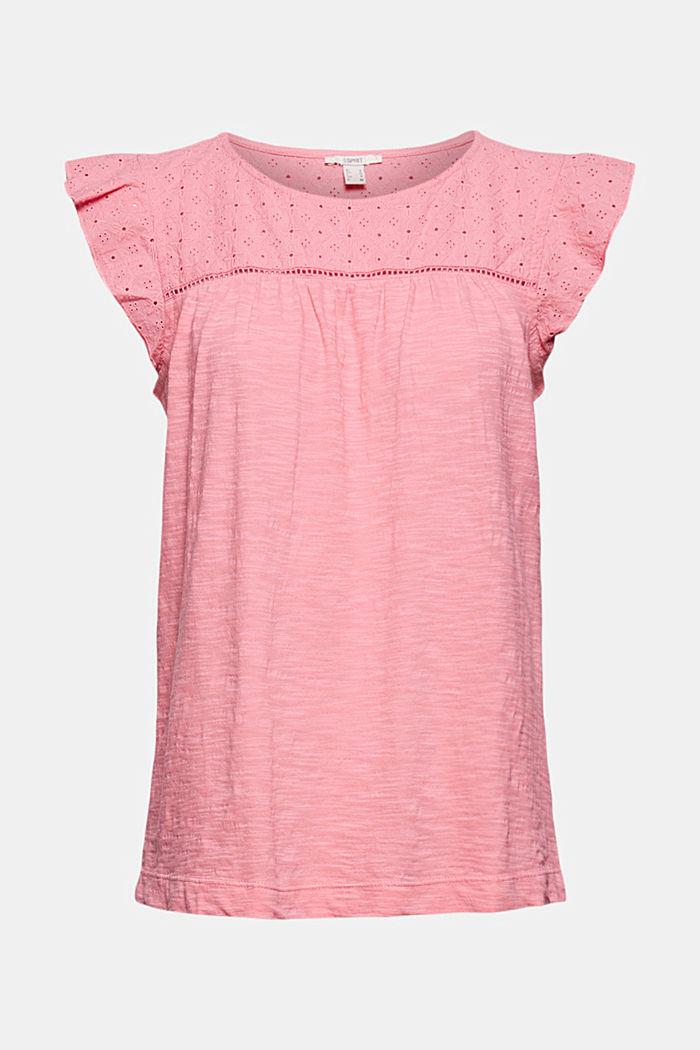 Shirt mit Lochstickerei, 100% Bio-Baumwolle, CORAL, detail image number 5