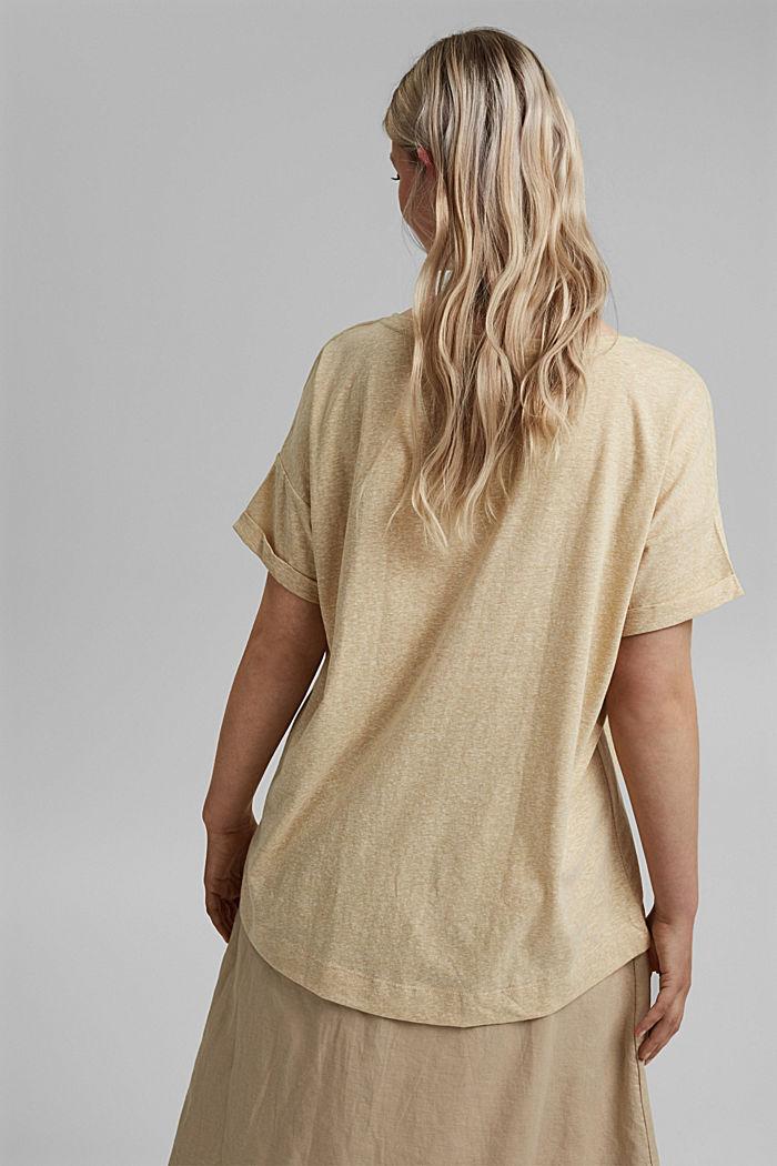 CURVY recyclé: t-shirt en mélange de matières, SAND, detail image number 3