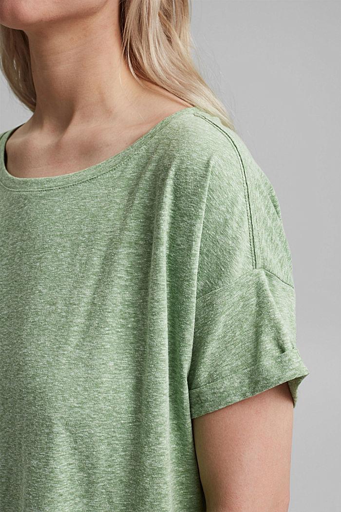 CURVY recyclé: t-shirt en mélange de matières, LEAF GREEN, detail image number 2