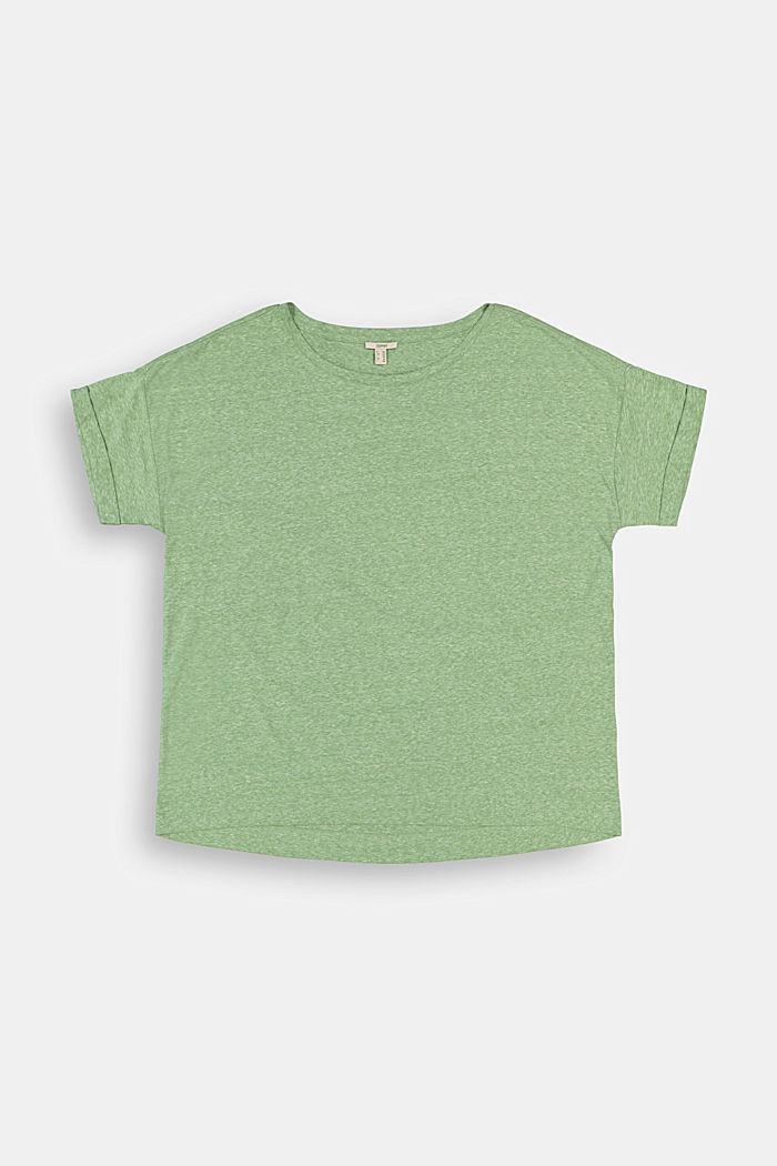 CURVY recycled: blended material T-shirt, LEAF GREEN, detail image number 1