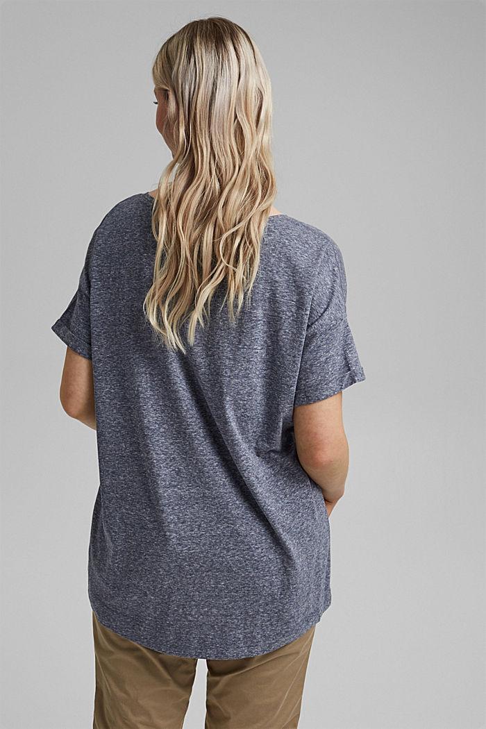 CURVY Recycelt: T-Shirt aus Materialmix, NAVY, detail image number 3