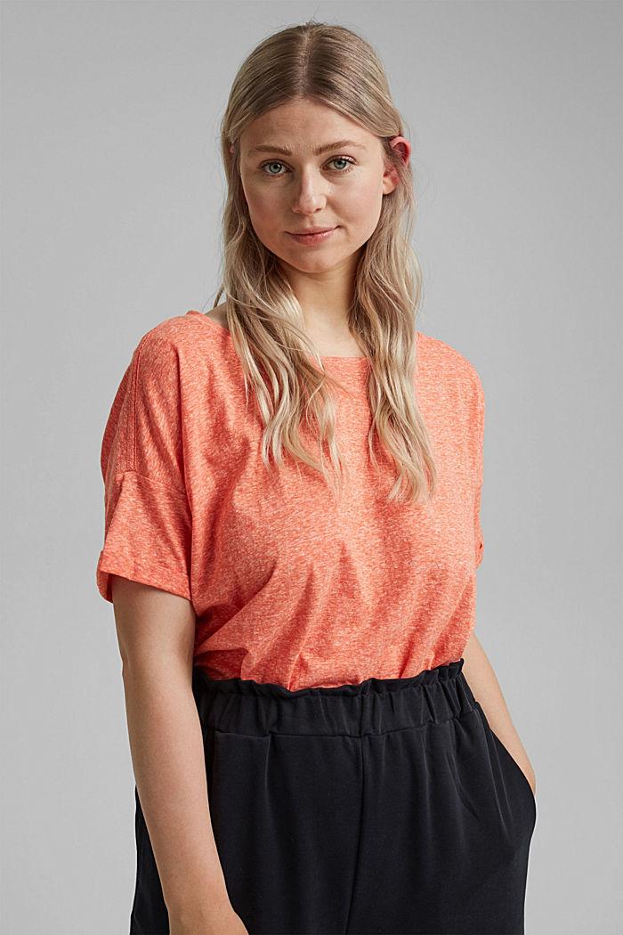 CURVY recyclé: t-shirt en mélange de matières, ORANGE RED, detail image number 0