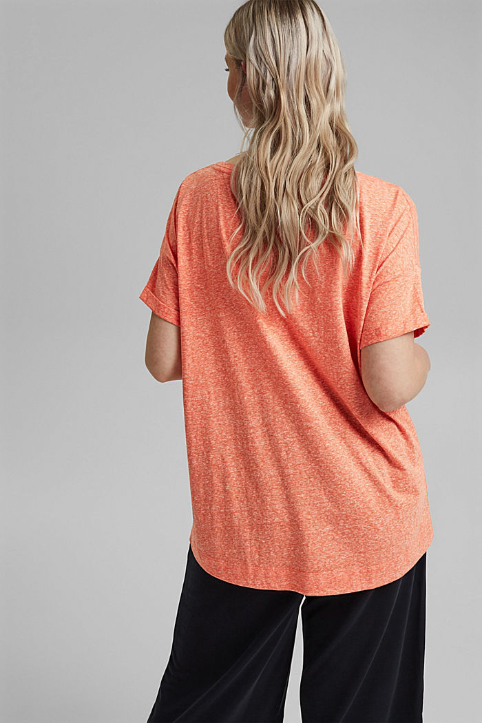 CURVY recycled: blended material T-shirt, ORANGE RED, detail image number 3