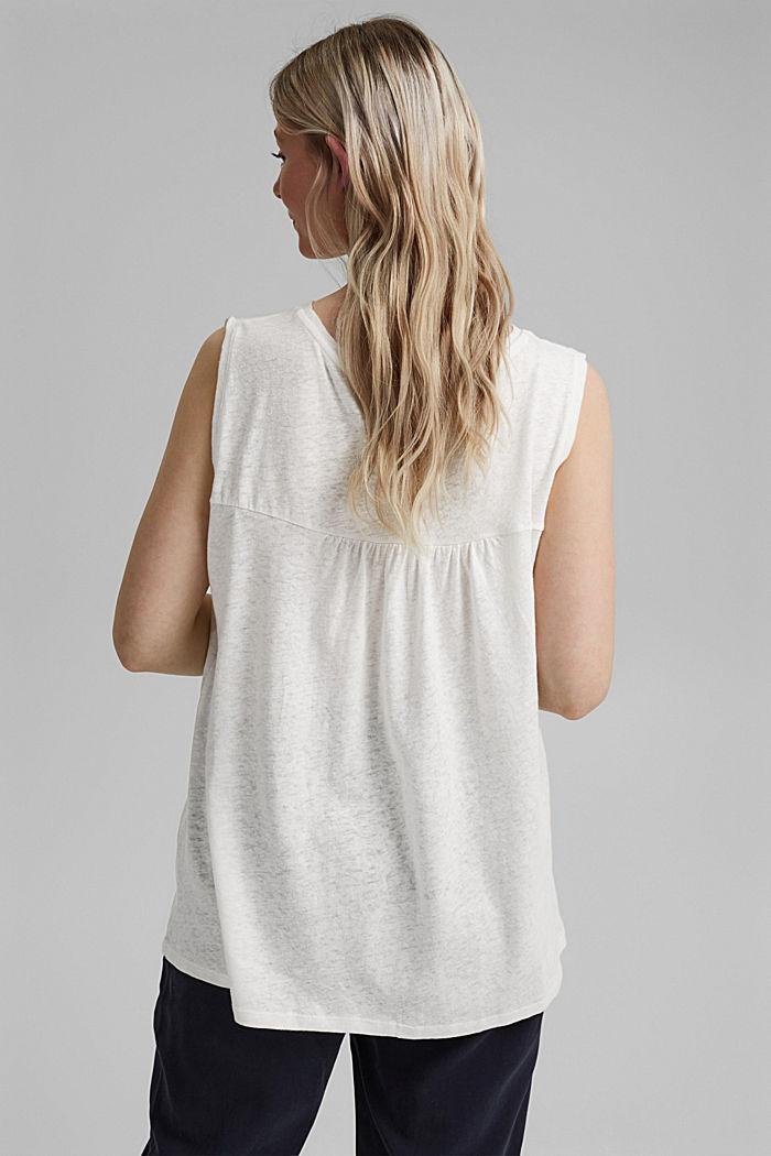 CURVY linen blend vest, OFF WHITE, detail image number 3