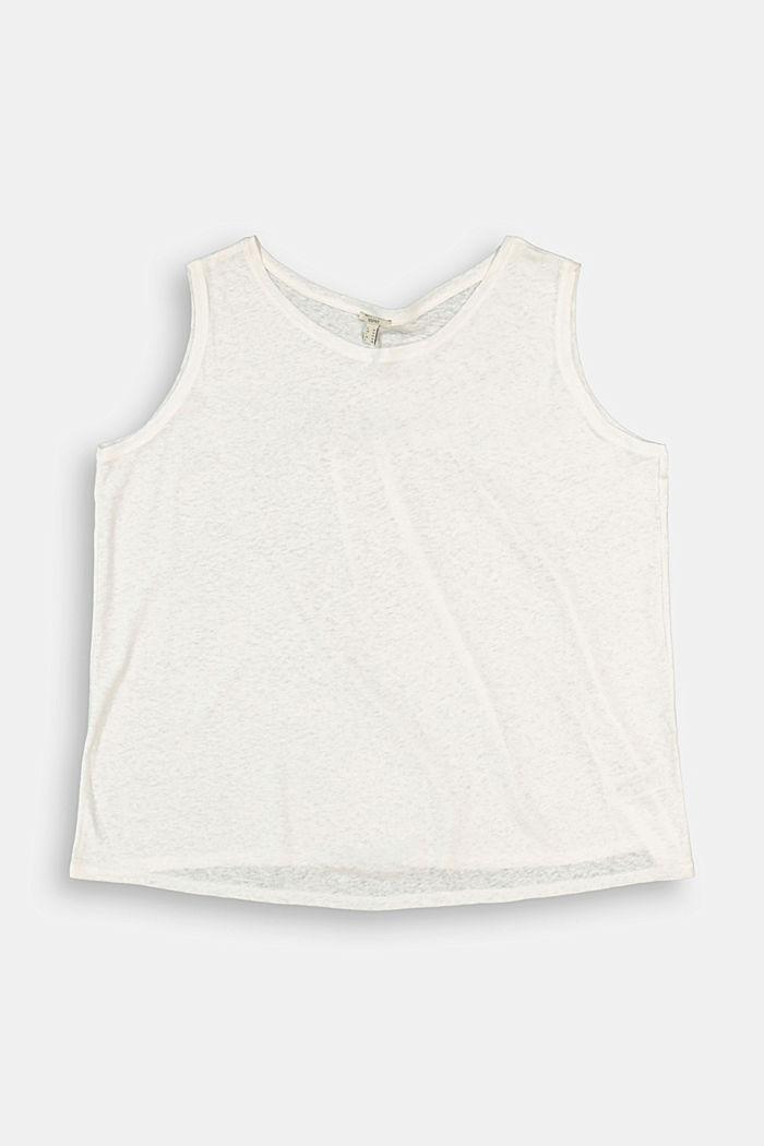 CURVY linen blend vest, OFF WHITE, detail image number 1