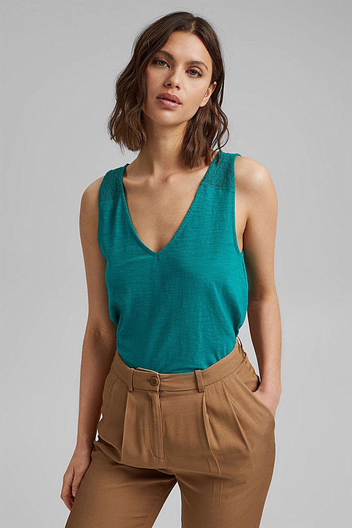 T-shirt en coton orné de dentelle ton sur ton, TEAL GREEN, detail image number 0