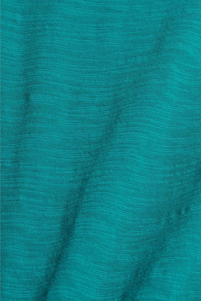 T-shirt en coton orné de dentelle ton sur ton, TEAL GREEN, detail image number 4
