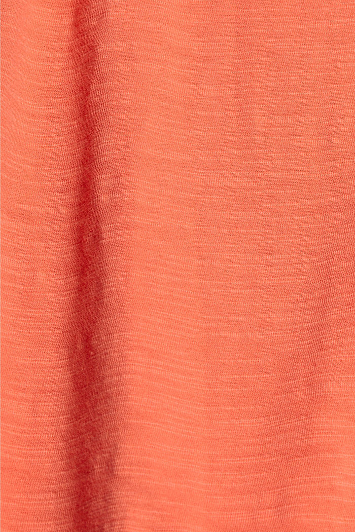 Cotton top with tonal lace, CORAL, detail image number 4
