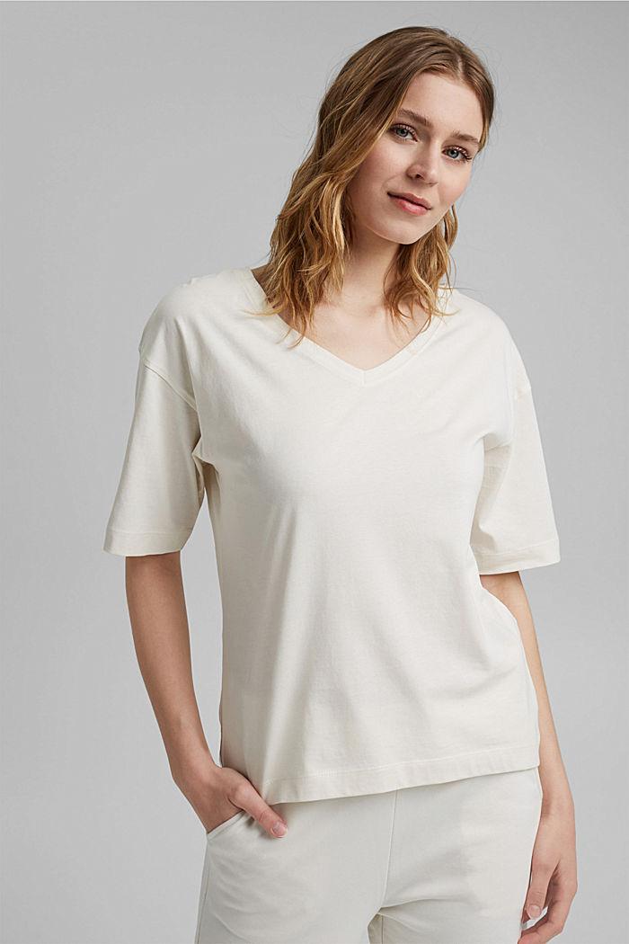 Oversize T-Shirt aus 100% Organic Cotton, OFF WHITE, detail image number 0