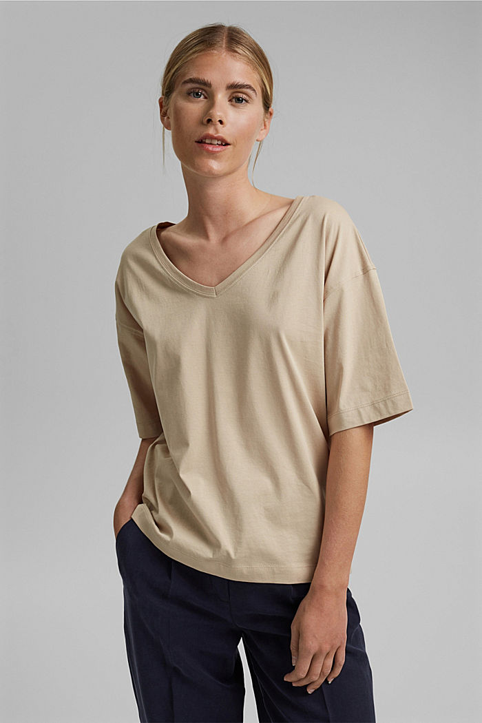 Oversized T-shirt made of 100% organic cotton, SAND, detail image number 0