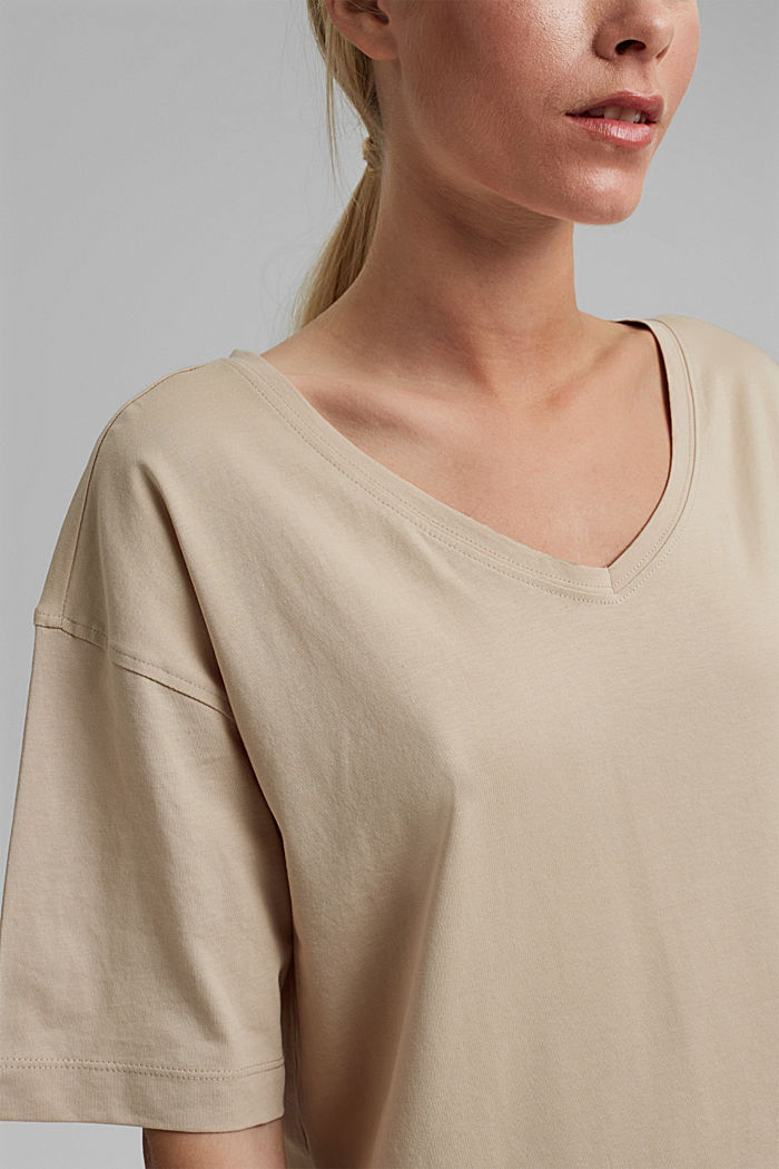 Oversized T-shirt made of 100% organic cotton, SAND, detail image number 2