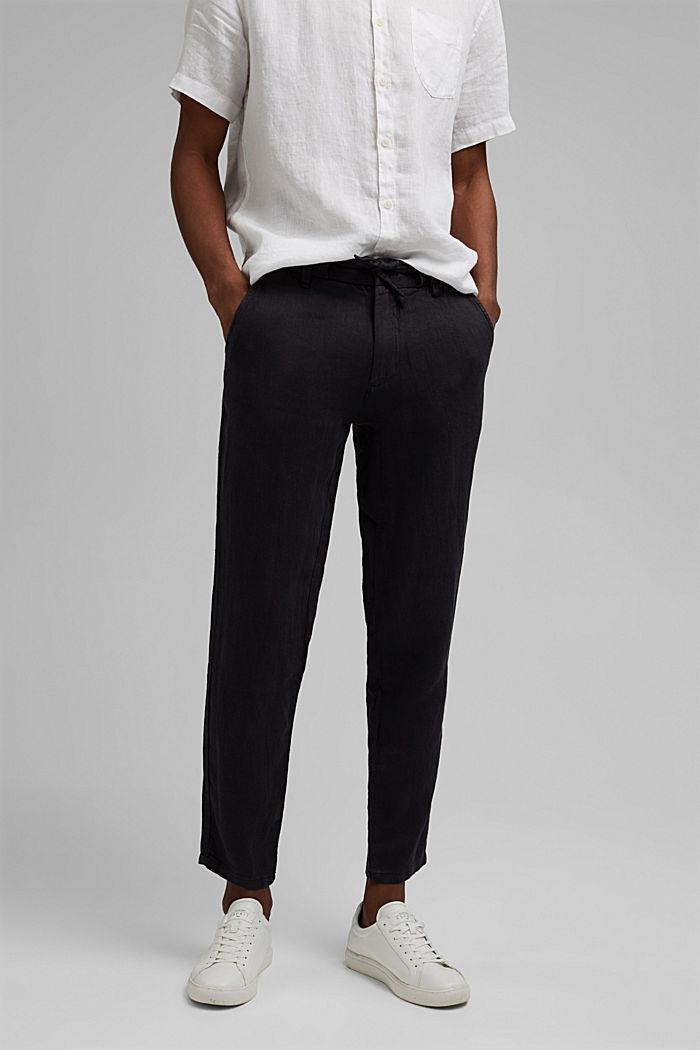 Pantalon décontracté en lin de qualité, BLACK, detail image number 0