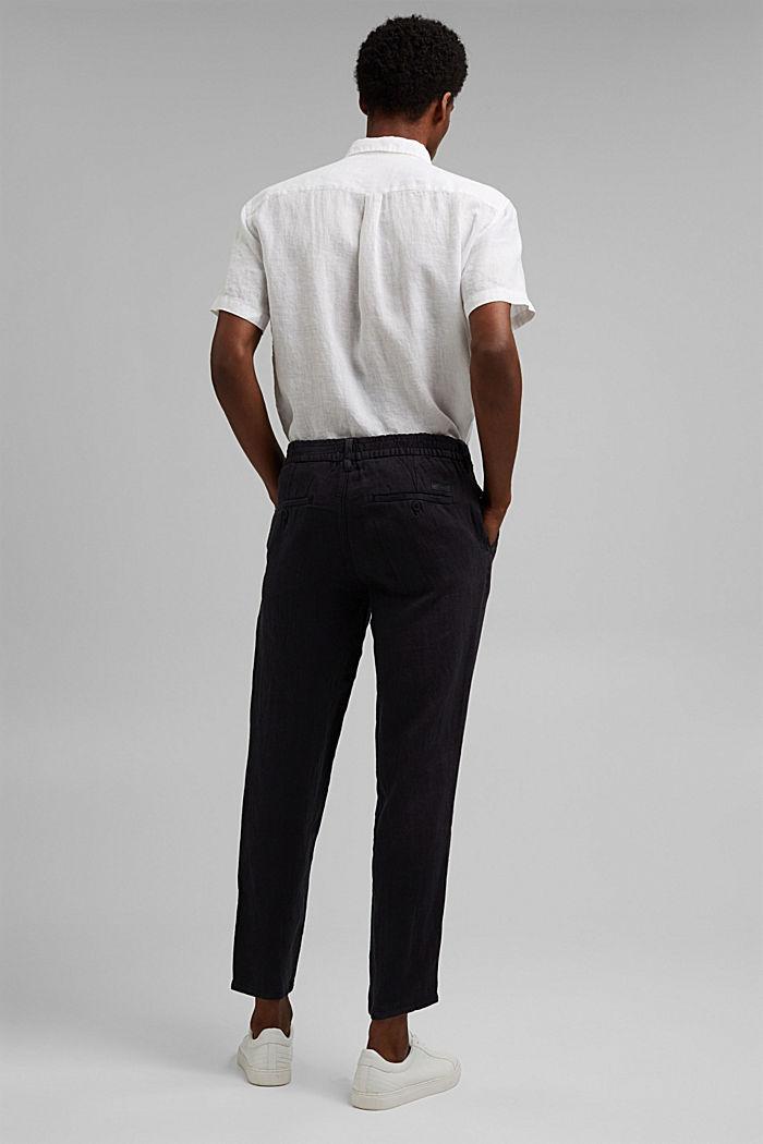 Pantalon décontracté en lin de qualité, BLACK, detail image number 3