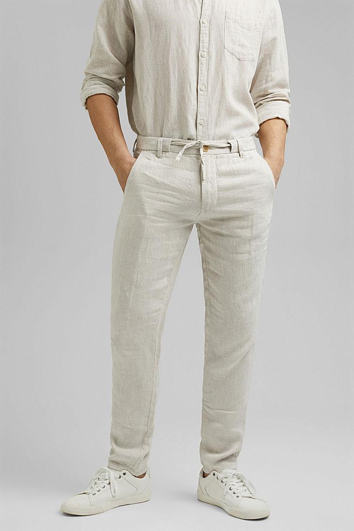 Relaxte Hose aus Premium Leinen, OFF WHITE, detail image number 0