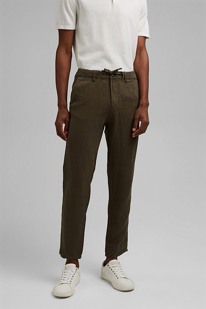 Relaxed trousers in premium linen, OLIVE, detail image number 0
