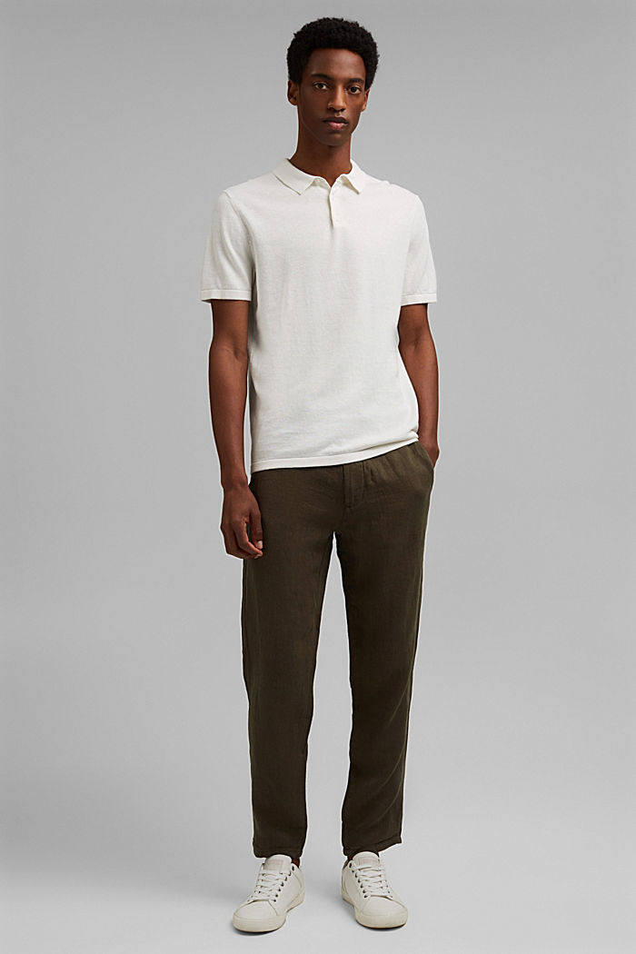 Relaxed trousers in premium linen, OLIVE, detail image number 7