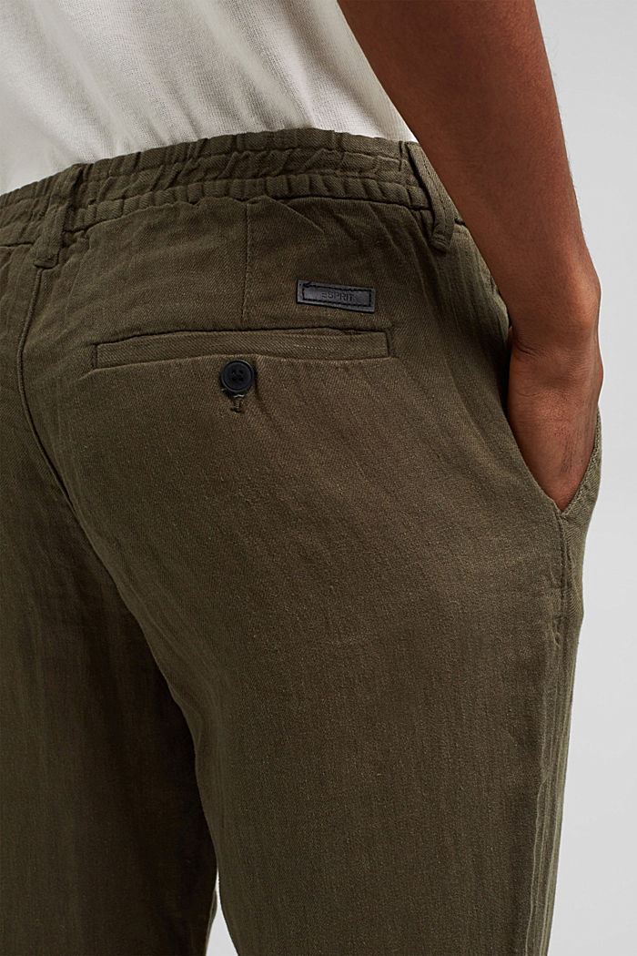 Relaxed trousers in premium linen, OLIVE, detail image number 5