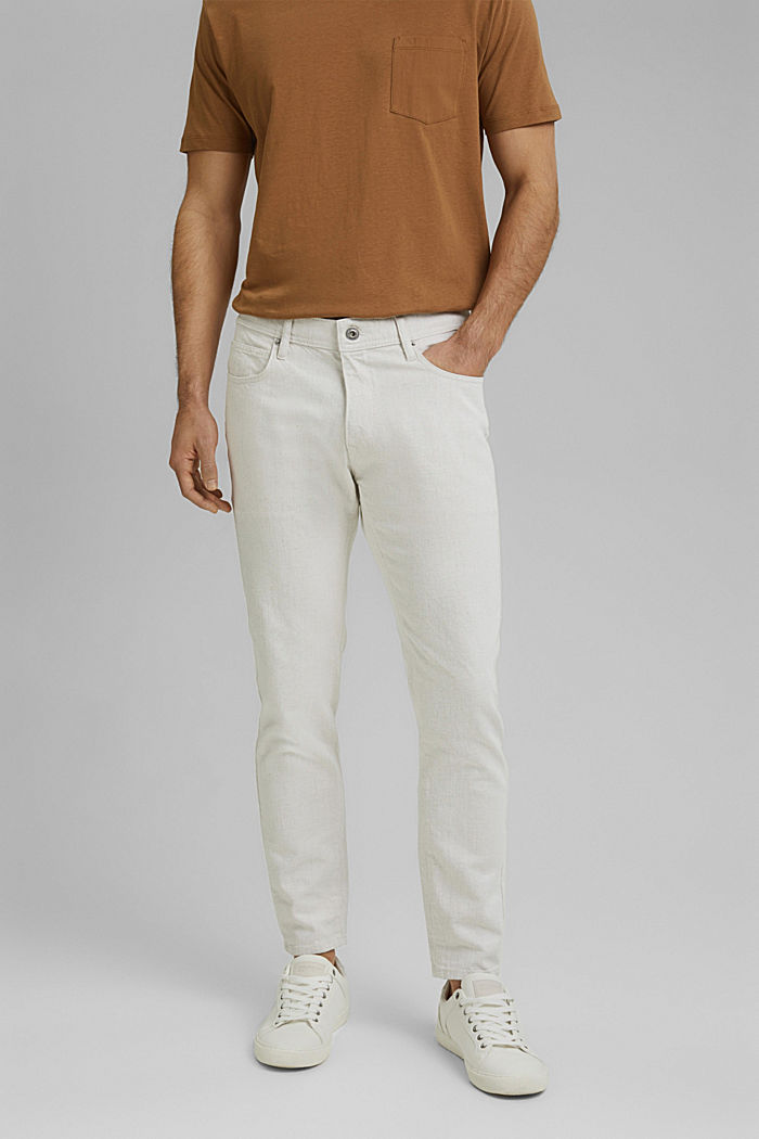 Mit Organic Cotton/Leinen: leichte Jeans, WHITE, detail image number 0