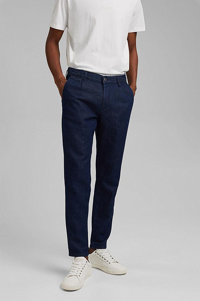 Jeans im Chino-Stil mit Bio-Baumwolle, BLUE DARK WASHED, detail image number 0
