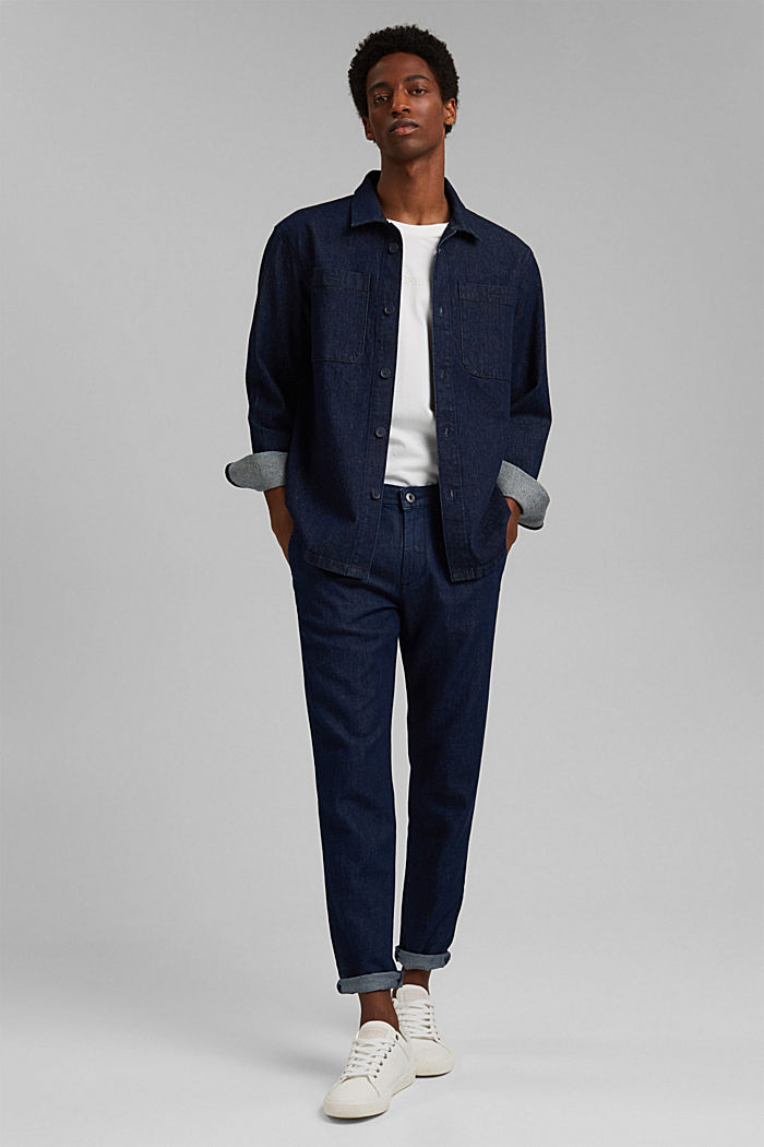 Jeans im Chino-Stil mit Bio-Baumwolle, BLUE DARK WASHED, detail image number 4
