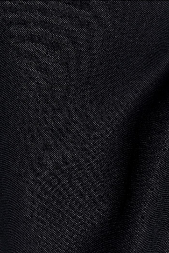 Met linnen/biologisch katoen: cropped chino in joggingstijl, BLACK, detail image number 4