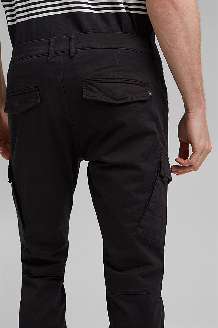 Organic cotton cargo trousers, BLACK, detail image number 2
