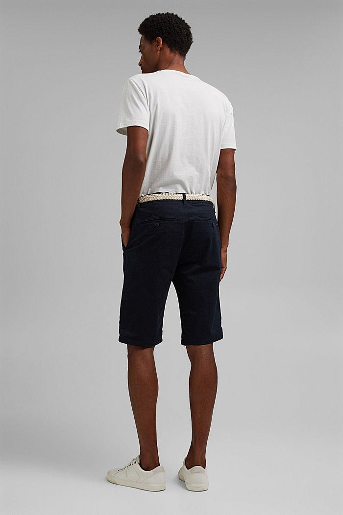 Pantalones cortos con cinturón en algodón ecológico, NAVY, detail image number 3