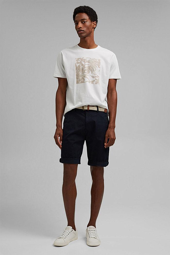 Pantalones cortos con cinturón en algodón ecológico, NAVY, detail image number 1