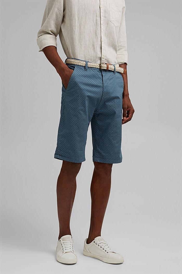 Short à ceinture en coton biologique, GREY BLUE, detail image number 0