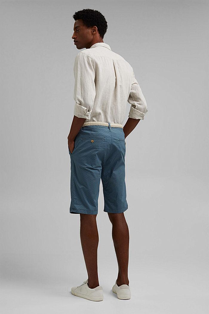 Short à ceinture en coton biologique, GREY BLUE, detail image number 3