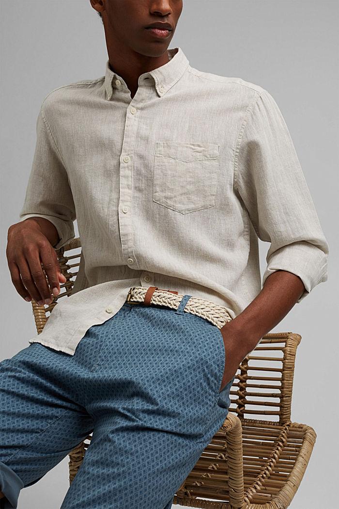 Short à ceinture en coton biologique, GREY BLUE, detail image number 6