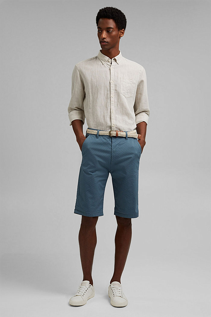 Short à ceinture en coton biologique, GREY BLUE, detail image number 7