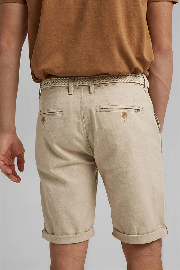 In misto lino: bermuda con cintura intrecciata, LIGHT BEIGE, detail image number 5